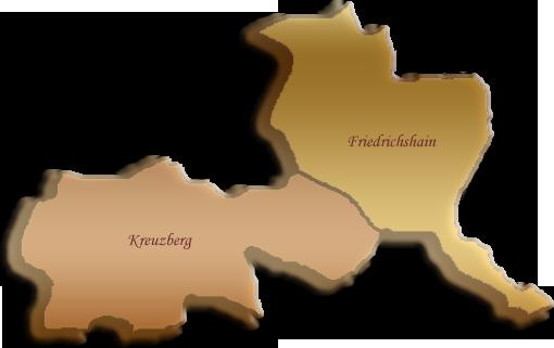 Berlin-Karte Friedrichshain-Kreuzberg